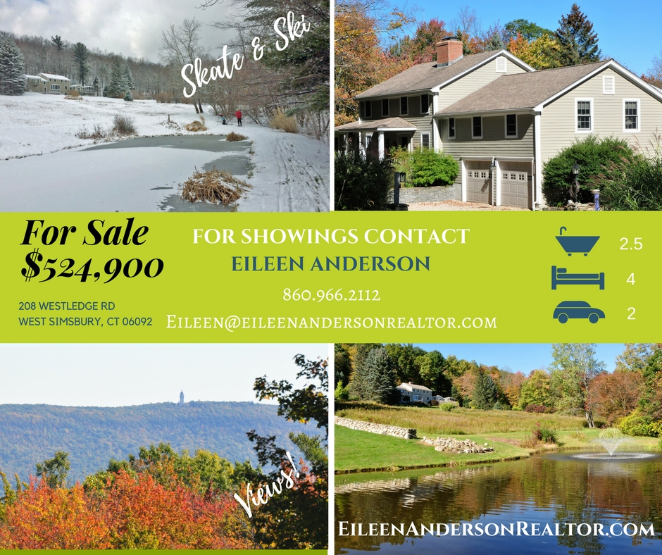 For Sale 208 Westledge, West Simsbury, CT Contact Eileen Anderson 860-966-2112