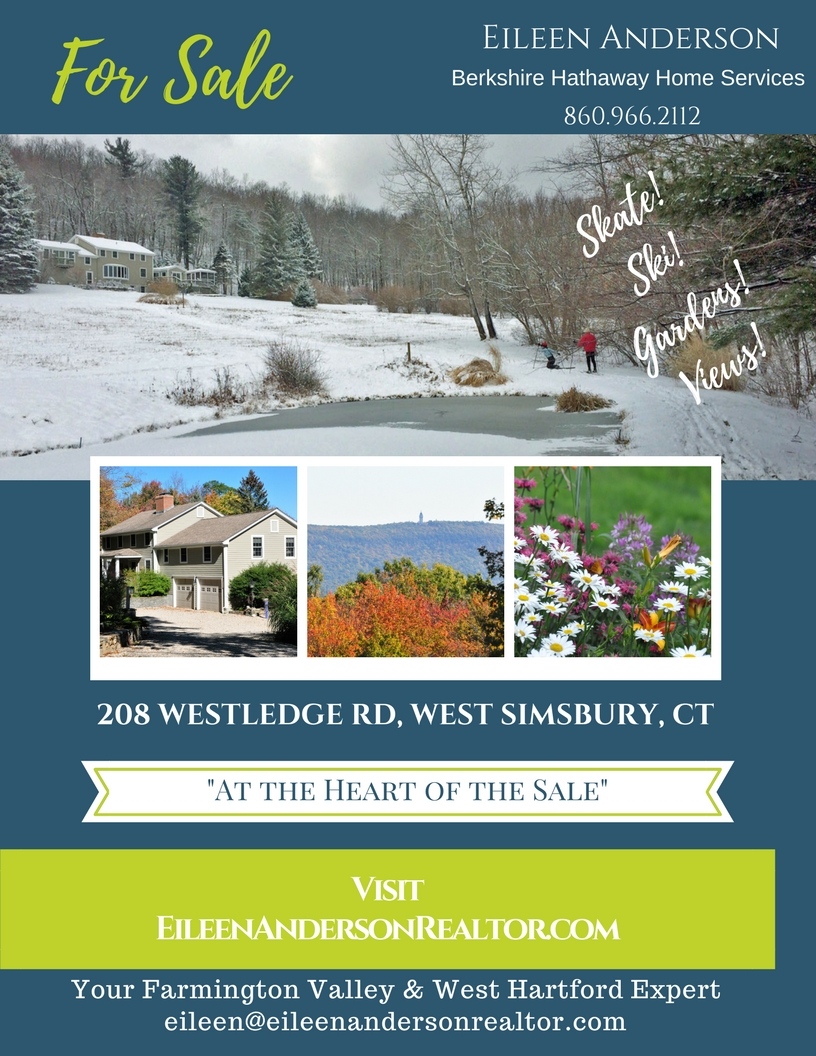 For Sale 208 Westledge West Simsbury, CT Contact Eileen Anderson 860-966-2112
