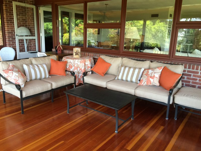New fabric for outdoor porch furniture giving it a fresh contenporary look! Home Staging