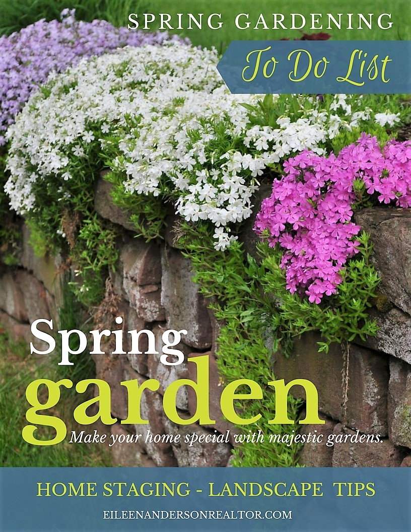 Stage your yard to sell! Spring real estate market do do list for curb appeal. Your Early April Garden, lawn, tree, and shrub to do list. real estate